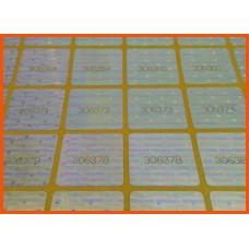 18x18 мм холограмен стикер със сериен номер - 60 бр